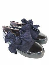 AGL NEW Blue Black Women's Size 39 9 Bow Platform Patent Leather Sneaker $385