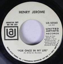 Pop Promo 45 Henry Jerome - For Once In My Life / Oh, Calcutta On United Artists