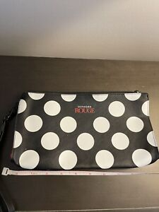 Sephora Rouge Makeup Travel Bag Zippered Polka Dot NEW