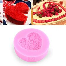Heart Love Shaped Silicone Chocolate Lace Fondant Cake Mould Soap Mold Decor