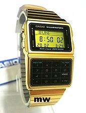 Casio Databank Gold Calculator 5 Alarms Telememo Dual time Mens Watch DBC-611-1