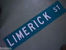 "Vintage ORIGINAL LIMERICK ST STREET SIGN 42"" X 9"" WHITE LETTERING ON GREEN"