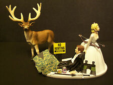 NO HUNTING DEER with Bow and Arrow Bride and Groom Wedding Cake Topper Funny
