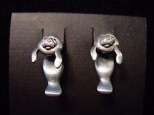 """""""JJ"""" Jonette Jewelry Silver Pewter 'MANATEE' 3-D Pierced Earrings"""