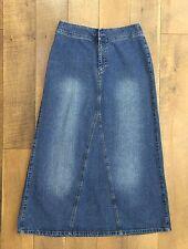 LIZ CLAIBORNE Long Denim Skirt 100% Cotton A-Line No Slits Modest Womens Size 6