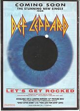 "DEF LEPPARD Let's Get Rocked  UK magazine ADVERT / mini Poster 11 x 8"""