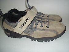 Shimano Bicycling Shoes Mens Laces Vellcro Beige Gray Black Leather sz 41 sz 7.5