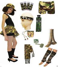 New Kids Girls Army Camouflage Tutu Shorts Vest Top Leggings Trouser Fancy Dress
