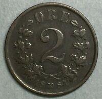 1884 Oscar II Bronze 2 Ore Norwegian Norway Lion Key Date Coin #ZS165