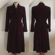 Vintage 1940s Fit & Flare Coat Burgundy Velvet 40s Swing Goodwood WWII Pinup 14