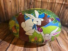 X - LARGE CARDBOARD PAPER MACHE DECOUPAGE EASTER EGG CANDY CONTAINER - GREEN INT