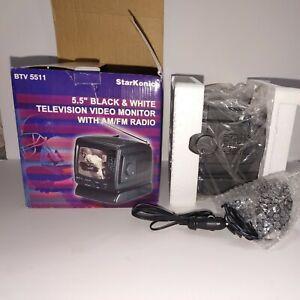 "StarKonic BTV 5511 5.5"" Black & White Television Video Monitor with AM/FM Radio"
