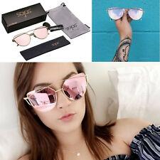 a4a6d5df3a42 Ladies Cat Eye Rose Gold Skull Mirrored Sunglasses Retro Fashion Women Uv400