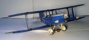 VINTAGE 1930's MECCANO AEROPLANE BLUE & WHITE BI-WING AIRPLANE w/ Pilot