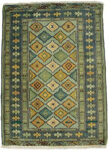 Tribal Mint Green Small Entryway 2X3 Oriental Rug Handmade Wool Decor Carpet