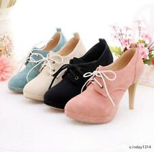 New Vogue Women Sexy Lace Up Stiletto High Heels Wedding Prom Suede Preppy Shoes