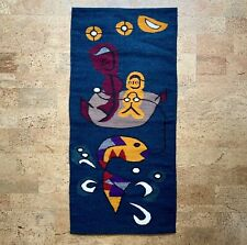 Modernist Abstract Fisherman Wool Tapestry Wall Hanging Vintage Mid-Century 40""