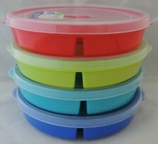 4 Microwave Divided Plates w/Vented Lids Food Storage Containers Cover Freeze
