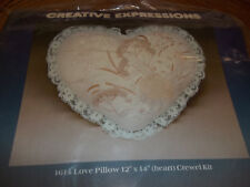 "Love Heart Shaped Pillow Vintage Crewel Embroidery Kit Size 12"" X 14"""
