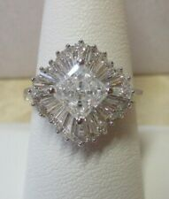 Engagement Cluster Ring Size 9 14K Solid White Gold Cz