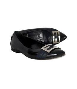 FENDI Black Patent Leather Silver Logo Flats Size 36