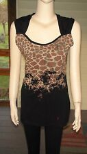 """Guess"" Black Multi Sleeveless Cotton Tunic/Top w/Leopard Print~Size L (M)~NWT"