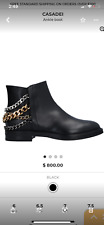 NEW CASADEI WOMEN SEXY HOT 🔥😘🔥MULTI CHAINS BIKER LEATHER  BOOTS ITALY SIZE 7!