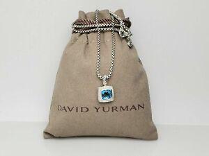 "David Yurman Petite Albion Pendant Necklace with Blue Topaz and Diamonds 17"""