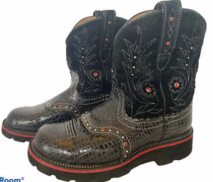 ARIAT  Black Fat Baby Gem Baby Suede Reptile Western Boots Size 9 B red studs