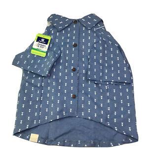 Top Paw Dog Clothes Blue Collard Knit Shirt Pet Apparel Size L