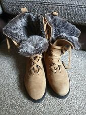 NEXT Genuine Brown Leather Faux Fur Winter Boots UK8 EU42 RRP £65 BRAND NEW