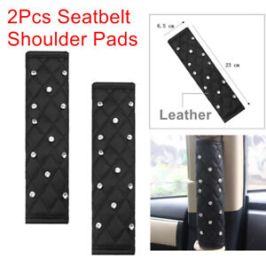Stylish PU Leather 2× Seat Belt Shoulder Pads Cover Pretty Decoration Protector