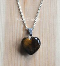 925 Silver Necklace & 16mm Tigers Eye Heart Pendant Reiki Healing Ladies Gift