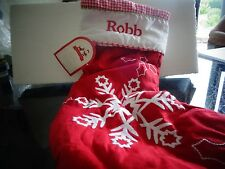 Pottery Barn Kids quilted stocking Christmas  snowflake  monogram Robb   New