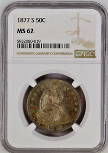 1877 S LIBERTY SEATED SILVER HALF DOLLAR 50C NGC MS62 UNCIRCULATE RARE TONED