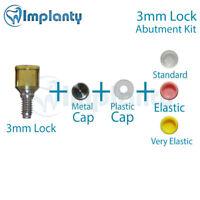 Lock Abutment Kit 3mm Dental Implant Titanium Internal Hex Metal + Silicone Caps