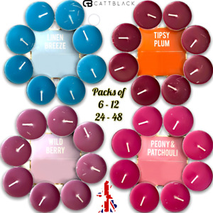 Scented Tea Lights Candles Night Small Scents Colours Linen Berry Plum 4-Hour