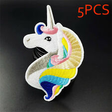 1/5pcs Badge Patchwork Unicorn Applique Patch Iron on Embroidered 5pcs