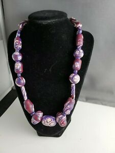 20 Inch Purple Polymer Clay Necklace