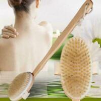 Long Bath Brush Wood Handle Body Back Shower Spa Scrubber B6X0 Natural J9O7