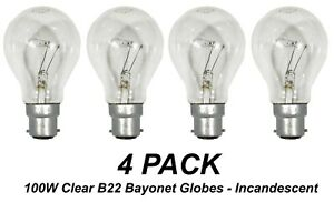 4 x 100W Clear Incandescent Light Globes Bulb B22 Bayonet Warm White Dimmable