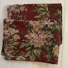 Pottery Barn Linen Blend Standard Pillow Shams  20 X 26 Burgundy Floral