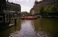 PHOTO  NETHERLANDS LEIDEN 1989 CANAL FLOATING CAFE
