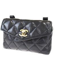 Authentic CHANEL CC Matelasse Bum Bag Leather Black Gold Vintage 48MG824