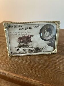 Vintage Art Deco Brass Picture / Photo Frame, Old Post Card Size Bowed Glass .