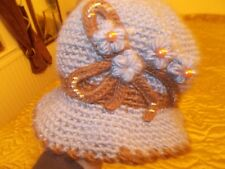 BNWT ALL WOOL HAT BLUE WITH BEADS SO PRETTY  MADE BY THOMAS CALVI