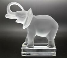 LALIQUE FRANCE Crystal Elephant Sculpture/Paperweight,#11801(with box and paper)