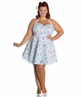 Sale! Plus Size Blue Kitten Anime Cotton Dress 2XL 3XL 4XL Summer Tea 1950's