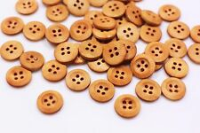 Small Brown Wooden Buttons Four Holes Raised Edge Round Shaped Shirt 13mm 20pcs