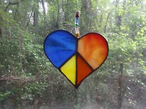 Stained Glass  Peace Heart Suncatcher Handmade New